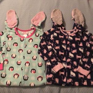 Girls 6 6x footie pajamas zippered PJs fleece LOT